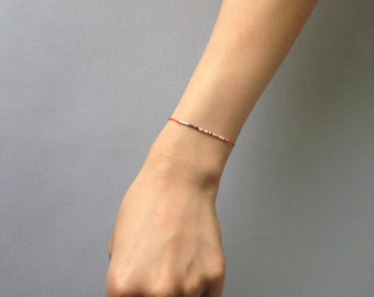 Friendship silk bead bracelet / Delicate layering bracelet / Coral