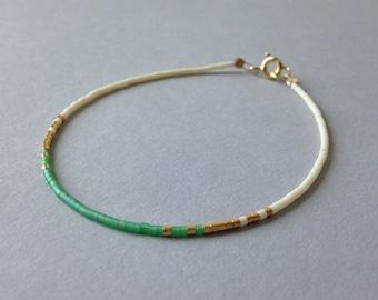 Gold tiny delicate bracelet / Ombre beaded layering bracelet / Green