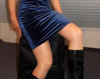 blue velvet dress Blue shiny velvet short mini dress