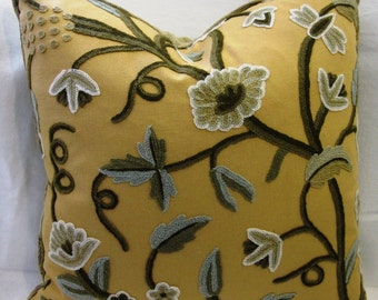 20 inch Yellow crewel flower pillow cover