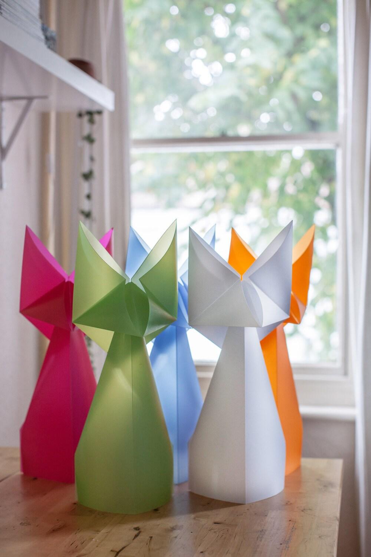 lampe de renard en origami g ant bleu lampe animaux pour. Black Bedroom Furniture Sets. Home Design Ideas