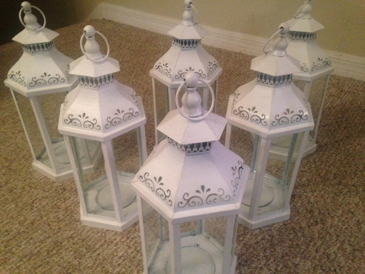 Rustic white wedding lanterns buy as many as 7 by for Where can i buy wedding decorations