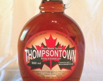 500ml Glass Bottle filled with Pure Ontario Maple Syrup