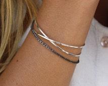 SILVER OVERCROSS, simple, minimal bracelet, thin dainty bracelet, silver bracelet, stacking bangle, cross, x ring