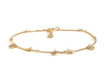 Little Coins Bracelet, Gold Disc Coin bracelet, little discs bracelet, gold disc charm bracelet
