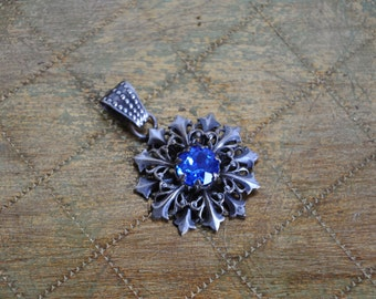 1940 Vintage French Pendant, Paris Jewelry, Blue Star, Costume Jewelry, Metal Star, Necklace Pendant, Blue Rhinestone, Made in France