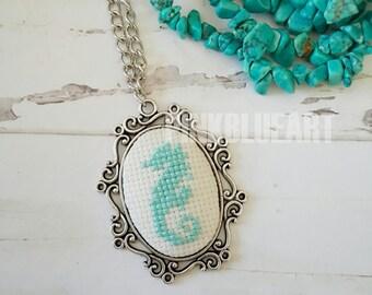 Mint Blue Seahorse Cross Stitch Necklace, Embroidered Necklace, Cross Stitch Jewelry, xstitch necklace, Pendant Necklace