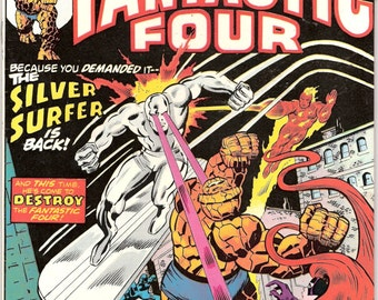 Fantastic Four 155, Dr. Doom, Silver Surfer comic book, Marvel Comics, Bronze Age, The Human Torch, Buscema art, 1975 in NM- (9.2)