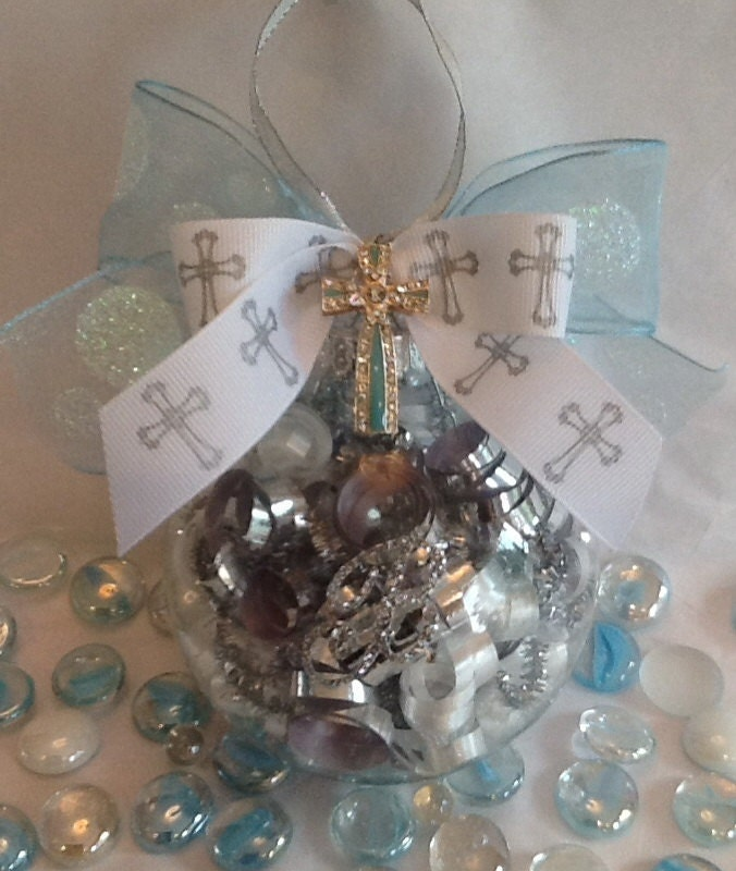 Baptism Ornament Round Glass: Personalized Baptism Cross Glass Ornament By SpecialOrnaments
