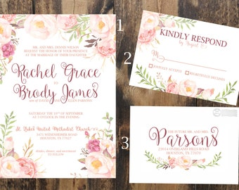 Floral Whimsical Wedding Invitation Set - Digital Printable Files - Print-at-Home Wedding Invitation Set - Invitation RSVP Address Label