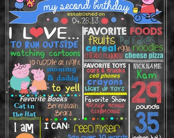 "Peppa Pig Birthday Stat ""Chalkboard""(digital poster) TWO COLOR OPTIONS"