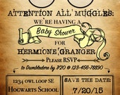 Personalized Harry Potter Theme Invitation - ATTENTION ALL MUGGLES - Baby Shower. Bridal Shower, Birthday Party - *Digital Documents*