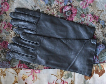Black Leather/Cashmere Driving Gloves Size 8