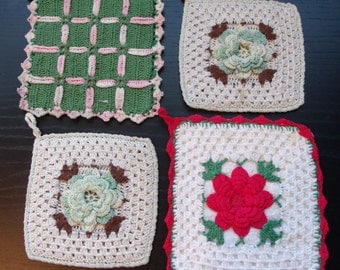 4 Vintage Crochet Hotpads