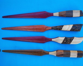 Exotic Hardwood Inlaid Letter Openers on Bubinga, Purple Heart, and Cocobolo