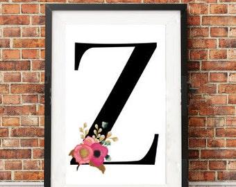 Nursery Print, Initial Print, Z Print, Z Monogram Letter, Personalised Print, Digital Download, Instant Download, Printable Art