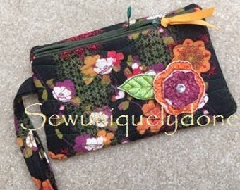 Wristlet - Black and Multi Flowered