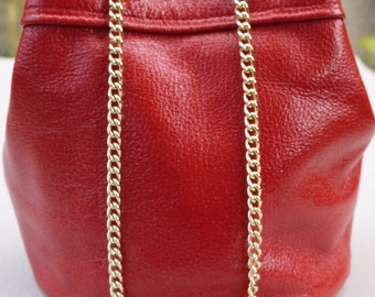 Bucket red leather women bag