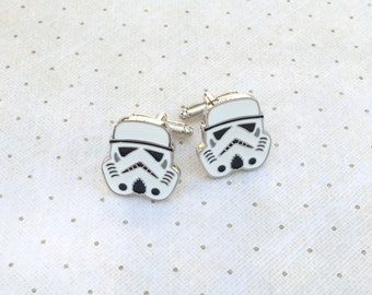 Star Wars Storm Trooper Cufflinks Storm Trooper Cuff Links in Silver