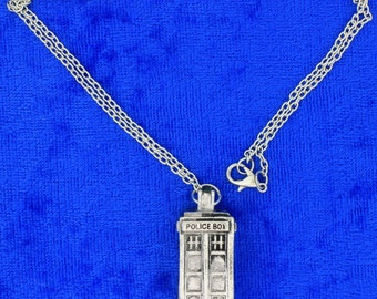 Tardis Police Box Necklace Silver Color Doctor Who Dr Who