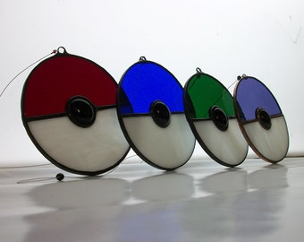 "Stained Glass ""Pokeball"" Suncatcher"