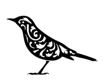 """5.8/8.3"""" Vintage bird design 1 stencil template. A5."""