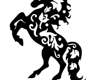 """6/6"""" Vintage horse design stencil and template."""
