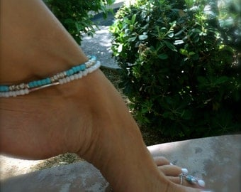 White Anklet White Ankle Bracelet Beaded Anklet Boho Anklet Beach Bride Stretch Anklet Silver Bridal Anklet Beach Wedding Bridesmaid Gift