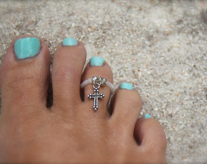 Toe Ring Cross Ring Cross Charm Midi Ring White Ring Beaded Ring Stretch Ring Silver Ring Knuckle Ring Friendship Ring Religious