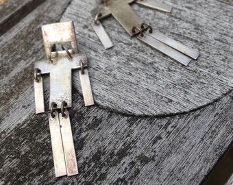 Sterling Silver Robot 1980s Drop Earrings