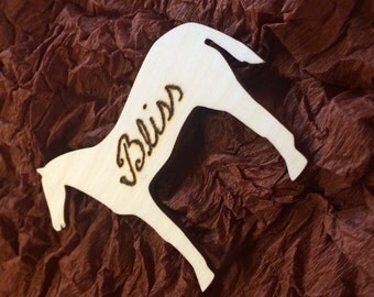 Personalised horse name tag wood burned, upto 10 letters