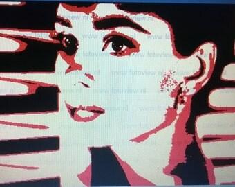 Audrey Hepburn hand painted canvas