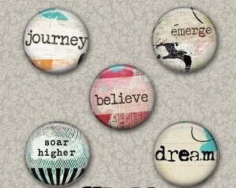 "Inspirational 5 Button Set 1.25"" or Larger Pinback Button, Flatback or Fridge Magnet, Inspirational Saying, Badge, Journey, emerge dream"