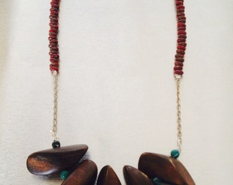Turquoise and Red with Wood Beads Necklace