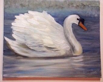 Swimming Swan Oil on Canvas Original 16x20