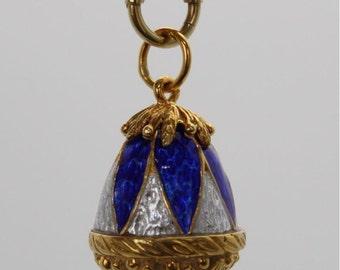 Vintage Guilloche Enamel Egg with Garnet & Enameled Guilloche Chain 18k Yellow Gold
