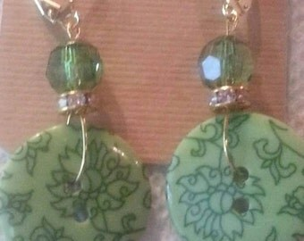 Gold and green button earrings