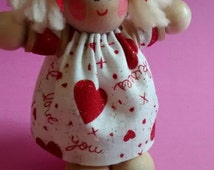 Handmade, palm-sized, wood and fabric Angel Dolls by Angels By Elaine