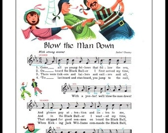 Blow the Man Down-Sailor's and Sea Shanty, from original 1950s illustration Poster Print A3 and A4 size