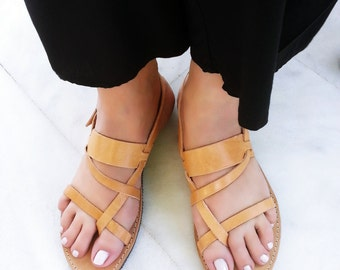 Ancient Greek Leather Sandals - Gladiator Sandals in Natural Leather Color. Handmade in Greece. Flat Strappy Sandals.