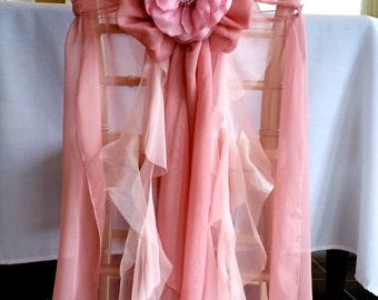 Pink Chair Cover with Curly Sashes and Floral Accent