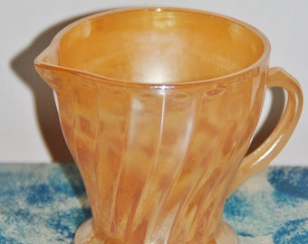 Fire King collector 1960s peach lustre milk jug creamer made in USA