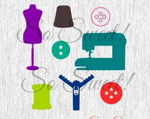 Sewing SVG / DXF Pattern Making Fashion Design Sewing Silhouette Cutting File Dress form Buttons Sewing Machine Zipper Seamstress Svg