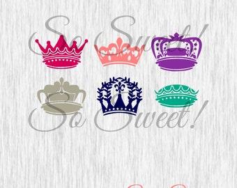 Crowns SVG / DXF Monogram Frames Queen King Princess Prince Silhouette Cut File Svg Dxf Fancy Cute Crowns Monogram Frame Royal Monogram