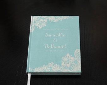 Personalized Teal Wedding Guest Book,  Custom Wedding Guestbook, Custom Designed Wedding Guest Book, Wedding gift, Wedding Keepsake