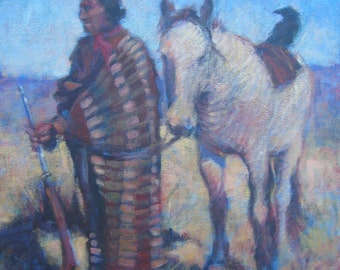 Original Acrylic Painting NATIVE AMERICAN INDIAN Horse Southwest Impressionist
