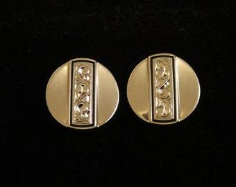 Vintage Cufflinks Silver Silver Modernist Etched Design Round CuffLinks Silver Cuff Links