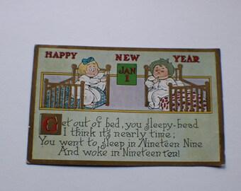 Vintage 1910 Happy New Year Postcard