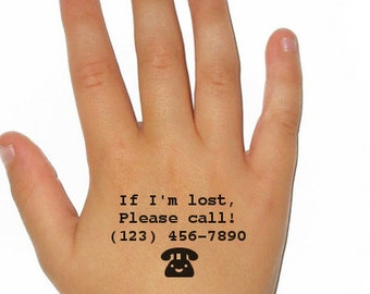 Set of 3 Emergency Contact Children's Phone Number Typewriter Temporary Tattoo