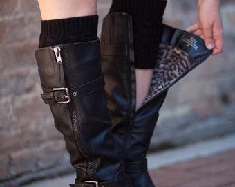 Knit Boot Cuffs Black by Modern Boho
